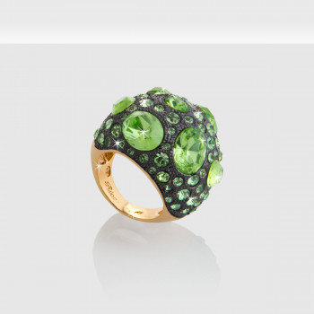 Luxury Woman Ring, Schmuck, Ring, Grün, De Luxe KristalleGelbvergoldet