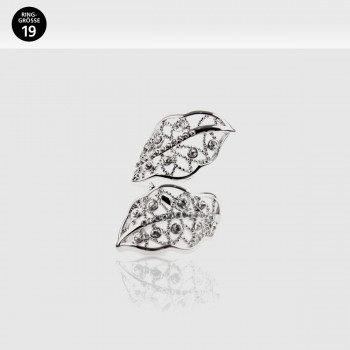 Luxury Leaves Ring, Größe 19, Rhodium