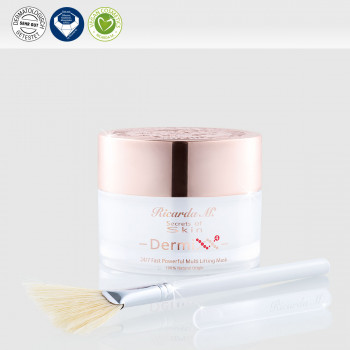 24/7 Fast Powerful Multi Lifting Mask, Gesichtsserum, weißer Tiegel, Pinsel