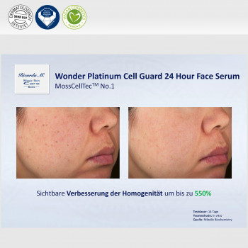 Wonder Platinum Cell Guard 24 Hour Face Serum, MossCellTec No.1, Verbesserung Homogenität