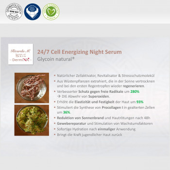 24/7 Cell Energizing Night Serum, Glycoin natural, Verbesserung, Wirkung