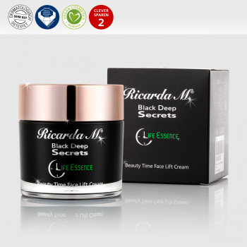 Black Deep Secrets Beauty Time Face Lift Cream Tiegel mit Verpackung und Icons