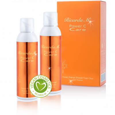 Power Orange Shower Foam Lipid Balance Duo, Körperpflege, orangefarbener Spender, vegan cosmetics