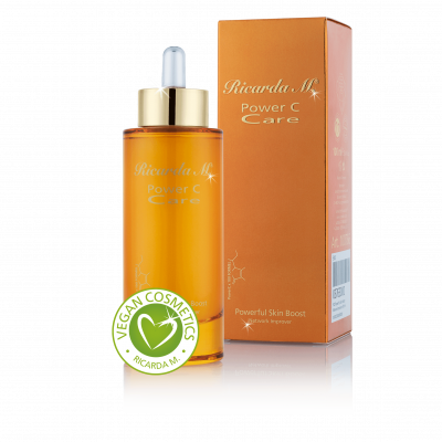 Powerful Skin Boost SG, Gesichtsserum, orangefarbene Flasche, vegan cosmetics