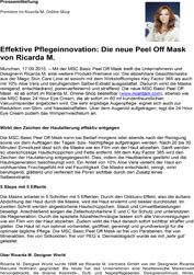 Ricarda M. Peel Off Mask wird präsentiert